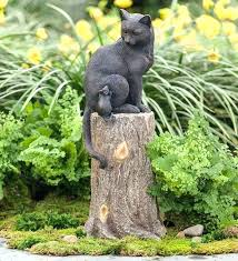 cat garden decor yard statues animals cat and mouse on stump lawn ornament sculpture statue weatherproof cat garden decor cat statues