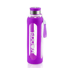 kanrel glass water bottle with silicone sleeve 32 oz purple com