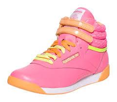 Reebok Kid Shoes Size Chart Details About Reebok Freestyle Hi Pink Orange Yellow Grade School Girls Tennis Shoes M46765