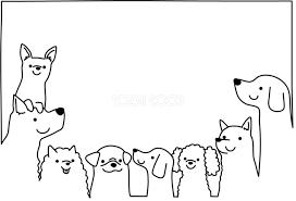 白黒の犬イラスト無料かわいく集合する82813 素材good