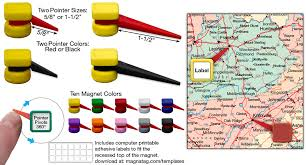 Tackpoint Map Magnets With A Pivoting Pinpointer 10 Colors
