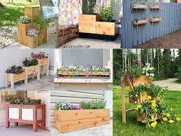 collage of diy wooden planter box ideas