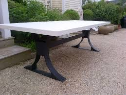 Concrete Top Dining Tables Modern Metal Base Concrete Top Table Mecox Gardens