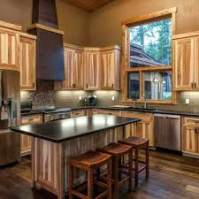 Lovely Hickory Wood Cabinets Exceptional Kitchen Modern  Subway Tile How To Clean67