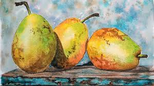 live watercolor pears 12 30pm eastern time free painting class you