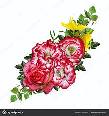flower arrangement bouquet rosa bright orange red eustoma yellow flowers and green leaves isolated on white background photo by sokolova