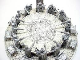 the round table and gentlemen with meval swords