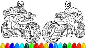 72 spiderman pictures to print and color. Spiderman Black Spiderman Motorcycle Coloring Pages Colouring Pages For Kids With Colored Markers Youtube