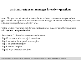 assistant restaurant manager interview questions in this file you can ref interview materials for assistant assistant restaurant manager job description