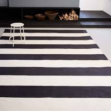 bold stripe cotton rug black white striped rug