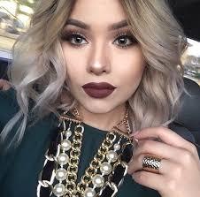 beauty blonde blonde hair blue eyes curly hair dark lipstick