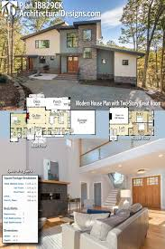 office designscom. Architectural Designs Modern House Plan 18829CK Has 3 Beds And 4 Baths Over 2,400 Square Feet Of Heated Living Space Plus A Future Office Off The Designscom N