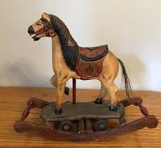 antique hand carved wooden rocking horse toy wheels painted vintage pony 3