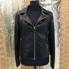 details about women s genuine python leather exotic snake skin black luxury handmade jacket