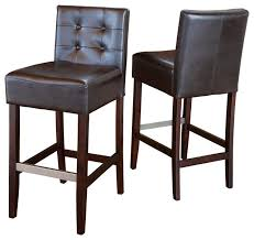 stunning brown leather bar stools with back gregory brown leather back stools set of 2 transitional