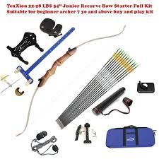 tenxion 28 lbs 54 junior right handed wooden riser recurve bow archery beginner full kit