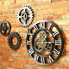 large wooden wall clock exposed gear wall clock wall clock exposed gears exposed gear wall clock large wood wall clock large rustic wooden wall clock