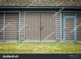 Light Blue Barn Door Isolated Closeup Graybrown Wooden Barn Light Stock Photo