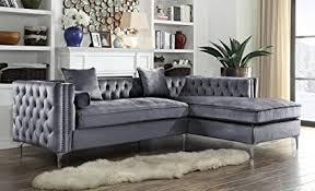 grey velvet sectional. Iconic Home Da Vinci Tufted Silver Trim Grey Velvet Right Facing Sectional Sofa Tone Metal A