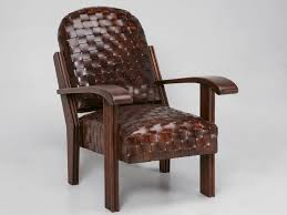 chic unique new hand woven leather club chair