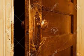 a close up of a vine door that is slightly open stock photo 5030578