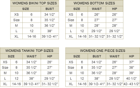 Swimsuit Top Size Chart For Envy Profile By Gottex Swimwear Size Charts Forenvy