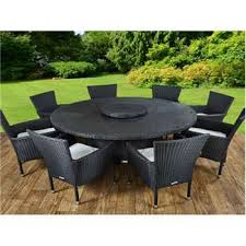 cambridge 8 rattan garden chairs and large round table set in black and vanilla 73