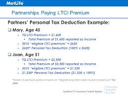 38 continuing education for cpas qualified ltc insurance federal taxation partnerships paying ltci premium partners personal tax deduction