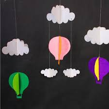 3m hanging pastel clouds hot air balloons bunting garland felt banner diy baby shower photo prop birthday party decor za2956 party balloon decorations party