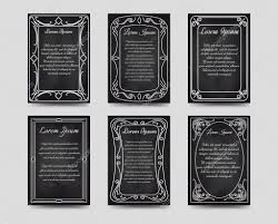 black chalkboard cards with hand drawn vintage frame vector ilration vector by vectortatu