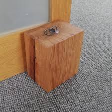 oak beam door stop with iron handle