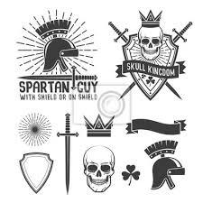 Fototapeta Retro Bederní Tetování Znak Spartan Přilba Dýka A Sunburst