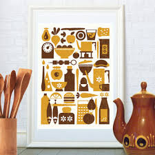 scandinavian kitchen print mid century modern art retro poster home decor wall
