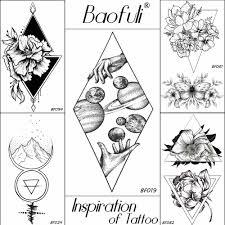 Baofuli для мужчин эскиз геометрическая ромбовидной временные татуировки черный
