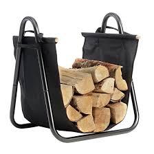 com fireplace log holder with canvas tote carrier indoor fire wood rack black firewood storage holders log bin heavy duty fire logs stacker basket