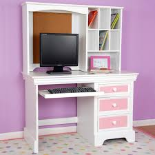 image of white office desk with hutch