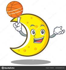Avec Dessin Anim Personnage De Croissant De Lune De Basket Ball