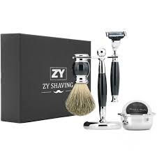 zy men shaving set kit safety blade razor pure badger beard brush razor stand holder bowl mug milk soap gift box