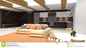 Modern Kitchen Living Room Modern Kitchen And Living Room 3d Illustration Stock Illustration