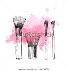 makeup brush with smear on white background watercolor pencil drawn cosmetics fashion ilration