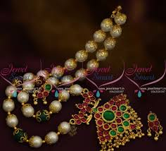 nl9620 pearl jewellery fl caps kemp spinel ruby traditional south indian gold finish