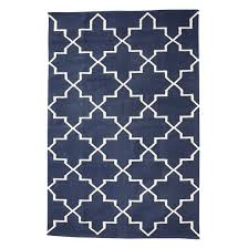 em home hubsch blue rug geometric white pattern