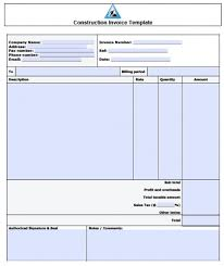 Excel Construction Invoice Template Invoice Template Home Bakery