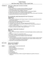 Lab Technician Resume Sample Research Laboratory Technician Resume Samples Velvet Jobs 95