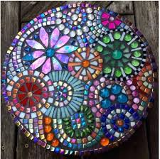 mosaic stepping stone by glass needle works garden stones ideas