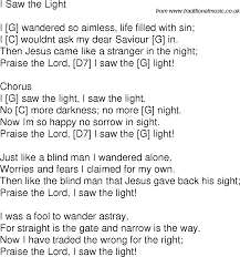 Light In The Darkness Song Old Time Song Lyrics With Chords For I Saw The Light G