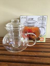 primula classic 40 oz glass 3 pc tea pot infuser for loose leaf or flowering tea