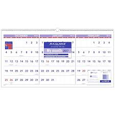 At A Glance 3 Month Calendar Amazon Com At A Glance Wall Calendar 2017 Three Month View 15