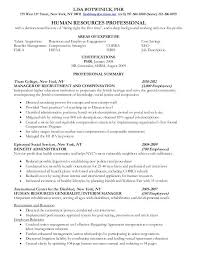 Sample Resumes For Hr Professionals Resume For Human Resources
