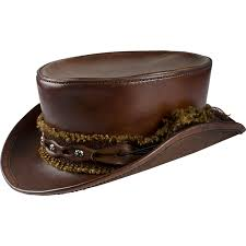 brown leather top hat to enlarge